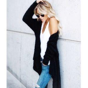 Sweaters - Black fuzzy cardigan